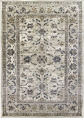 Beige Rug Classic Vintage Design Timeless Traditional Faded Distressed