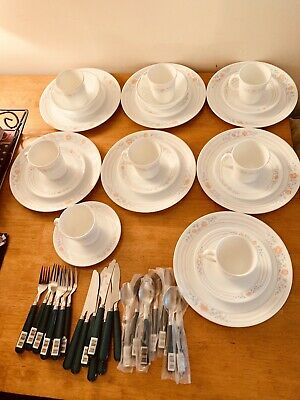 lot 25 Piece Corelle Apricot Grove Vintage Dinnerware and Dessert Plates & Cups