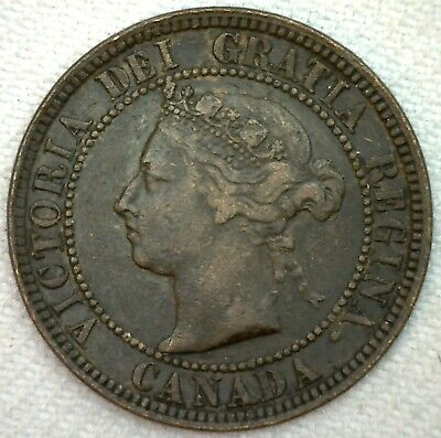 1882 H Canada Large Cent 1c Copper Canadian One Cent Coin VF Very Fine K70