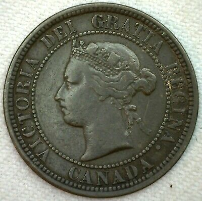 1882 H Canada Large Cent 1c Copper Canadian One Cent Coin Fine K68