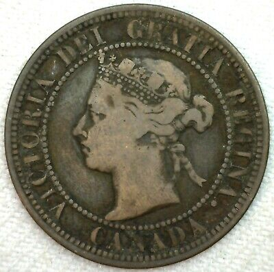 1882 H Canada Large Cent 1c Copper Canadian One Cent Coin YG You Grade K67