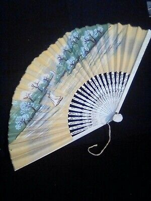 Vintage Paper and Wood Folding Hand Fan, Painted Asian Design Water & Landscape