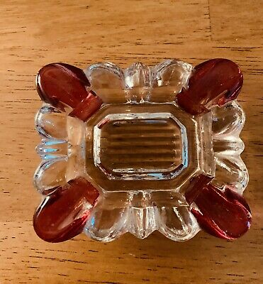 "VINTAGE ASHTRAY RED And Clear GLASS  3"" By 2.5"" EXCELLENT Condition Estate Sale"