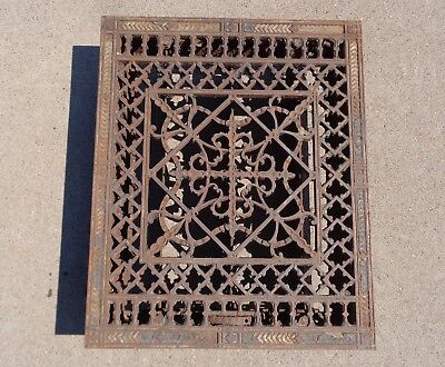 Antique Ornate Cast Iron 12 x 15 Victorian Cold Air Return Floor Grate Register