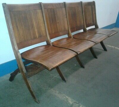 VINTAGE Wood Slat Folding Stadium Auditorium Chairs Cinema Bench Seating. Our #1