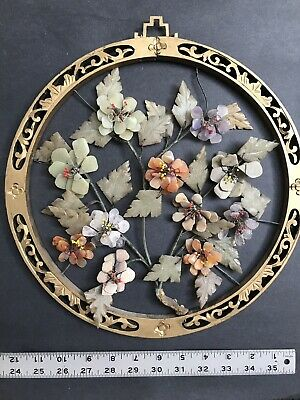 """Vtg Antique Chinese Carved Semiprecious Gem Stones Flowers Wood Hang Wall 13"""""""