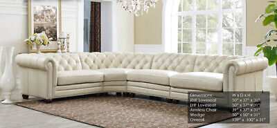 Stupendous New Chesterfield 4 Part Sectional Sofa Top Grain Creamy Ivory Leather Rh Style Interior Design Ideas Helimdqseriescom