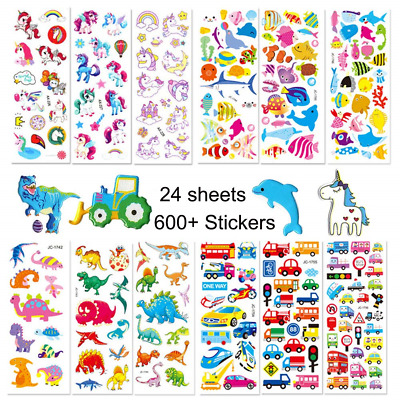 Jatidne 3D Stickers for Kids Toddlers 24 Different Sheets over 600+ Colorful 4