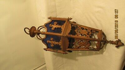 Vintage  CHURCH  STYLE Hanging   LIGHT FIXTURE GOTHIC BLUE Stained Glass