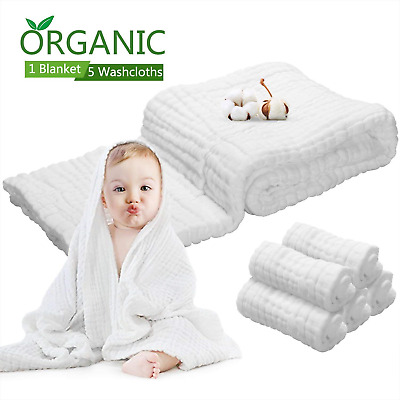 6 PCS Baby Towels Muslin Washcloths Set - 5 washcloths & 1 Large Baby Blanket of
