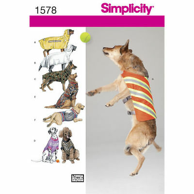 Simplicity Sewing Pattern 1578 Dog Pet Clothes Coats Large Sizes 6 Styles