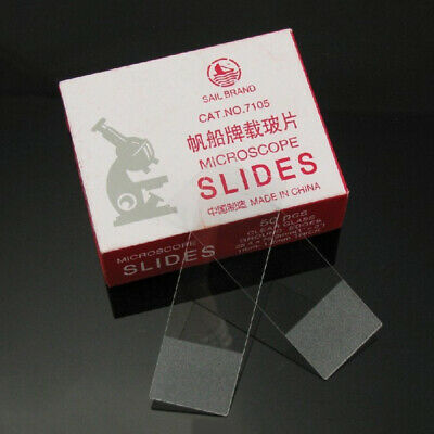 50 Pieces Clear Glass Blank Slides Frosted Edges Reusable Microscope Slides