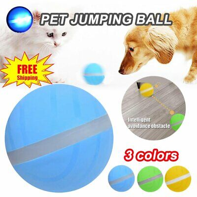 Pet Wicked Ball Toy Jumping Ball Cat Dog USB Electric LED Rolling Flash Toy EA