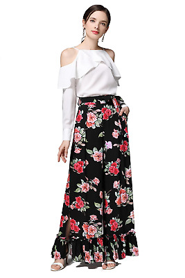 Beautiful Black Wide Leg Pants with Red Purple and Peach Coloured Roses and Ruff