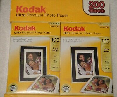 New Kodak Ultra Premium Photo Paper 2 Boxes 4 x 6 200 Sheets Total - High Gloss