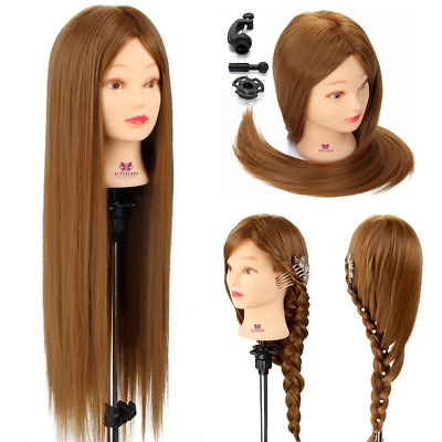 """Neverland Mannequin Head 26"""" Brown Hair Stying Training Head 100% Synthetic Doll"""