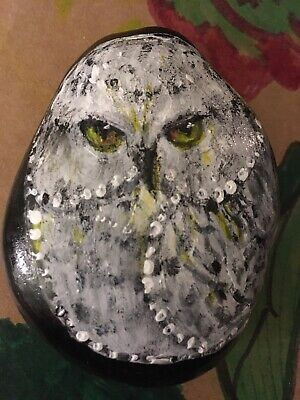 OWL - Hand Painted Original Stone Art - On Black River Rock.