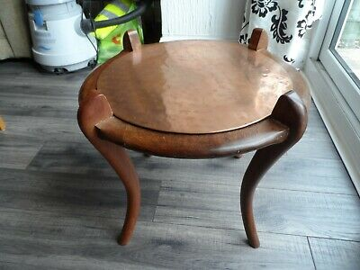 Circular copper top occasional table hand made . Arts and crafts.
