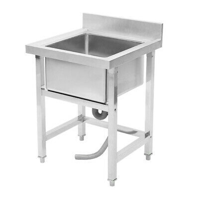 Kitchen Sink Stainless Steel Catering Single Bowl Brushed Wash Table Drainer NEW