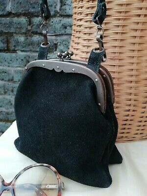 Vintage Original 80s Black Genuine Suede Leather Gladstone Dolly Grab Bag. Fab..