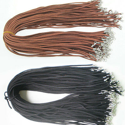 10 PCS Suede Leather String Necklace Cords With Clasp DIY  Accessories US