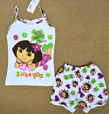 Dora White Girls Pyjamas Singlet Set Summer Sleepwear Snug Fit Kids Nightie
