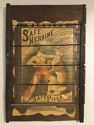 1893 Large Wooden 36x24 Warner's Safe Nervine Pills Tiger Tamer Ad Raisinrak '74