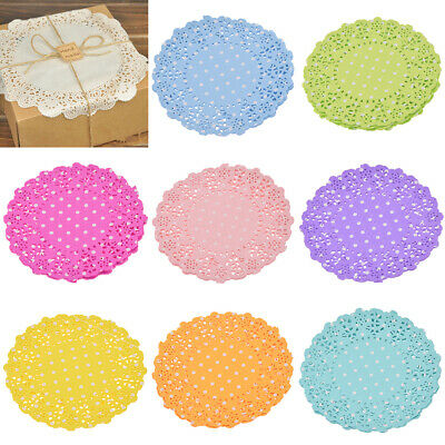 "10pcs 4.5"" Round Paper Lace Doilies Placemat Cookie Cake Wrapper Gifts Decor"