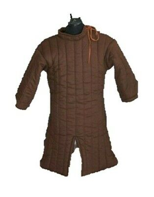 HALLOWEEN Brown Antique Thick Medieval Gambeson Padded Collar Gambeson Armor