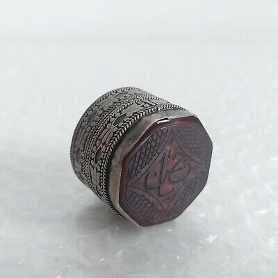 VINTAGE PILL BOX SOLID SILVER with Carved Engraved Carnelian Top