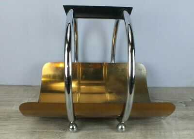 1930s Art Deco Machine Age Log Holder Leslie Beaton for Revere Copper and Chrome