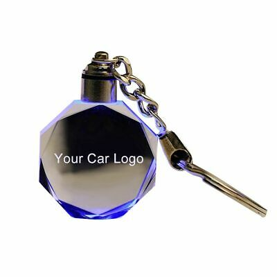 Car Key Keychain Models LED Cut Glass Logos Keyring Holder For Audi VW Benz Ford