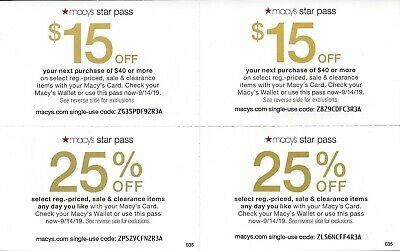 Macy's Star Pass Offers! 2 x $15 off $40 & 2 x 25% off.  Expires 09/14/19