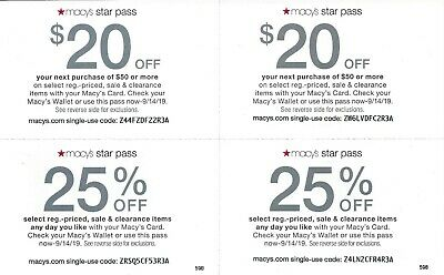 Macy's Star Pass Offers! 2 x $20 off $50 & 2 x 25% off.  Expires 09/14/19