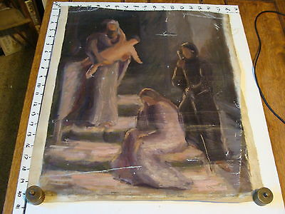 Vintage Oil painting study 18 x 20 Religious: 4 figures, angel holding baby