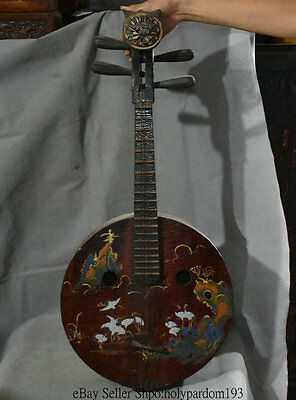 """34"""" Old Chinese Dynasty lacquerware Wood Handmade lute Piano zither zithern pipa"""