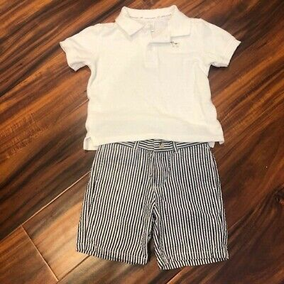 JANIE & JACK Baby Toddler Polo Shirt & Striped Shorts Set, Size 18-24 months