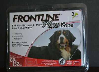Frontline Plus For Dogs  (3 Doses)  Kills Fleas, Eggs, 89 To 132 Lbs