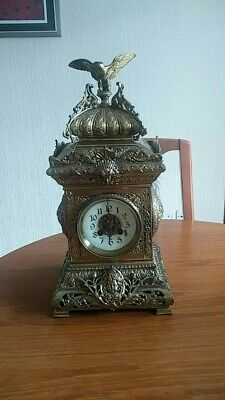 Antique Fritz Marti Gilt Table Clock 1860 ish large and extremely heavy