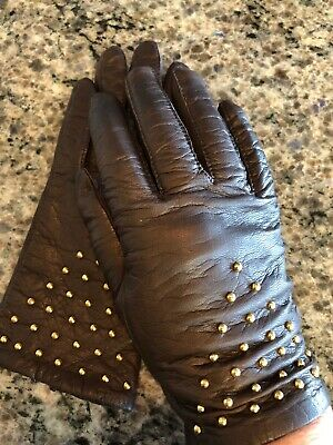 Fownes Women's Brown Leather Gloves With Gold  Studs Size 7 1/2 Acrylic Lining