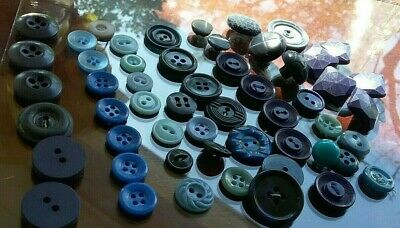 Vintage Sewing Craft Buttons Lot Mixed Blue Celluloid Bakelite Lucite Plastic50+