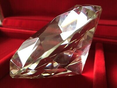 Huge Large Giant Clear Crystal Diamond Shape Ornament Paperweight 120mm