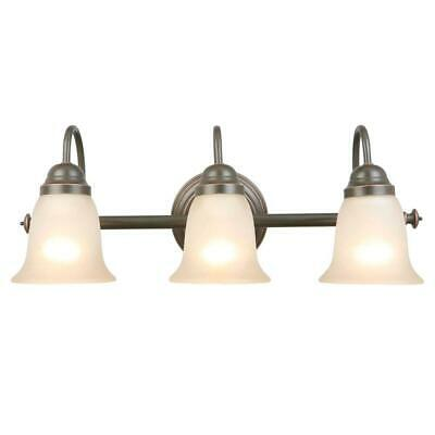 3 light Bronze vanity bathroom wall lights with tea stain lone star bell glass