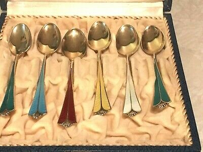 Six Norway David Andersen Gold Wash 925S Enamel Demitasse Spoons in Hinged Box