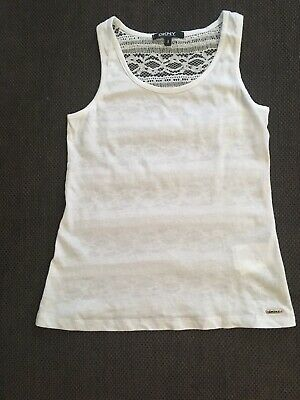 DKNY Girls White Cotton Vest Top Age 8 Years Mint Condition