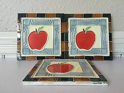 Antique Art Nouveau C1900 Majolica Tile Red Apple Glazed Art Design