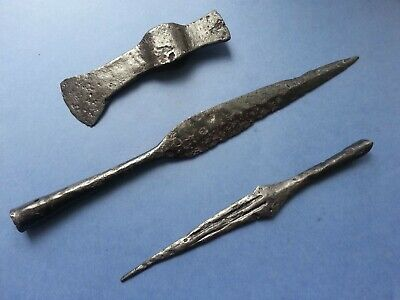 Collection of ancient weapons.Battle axe & Spears 100% original