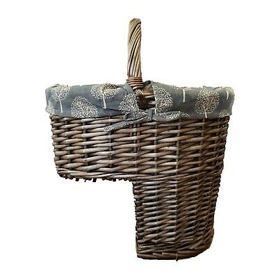 Wicker Stair Step Storage Basket with Carry Handle Mulberry Tree Liner Home