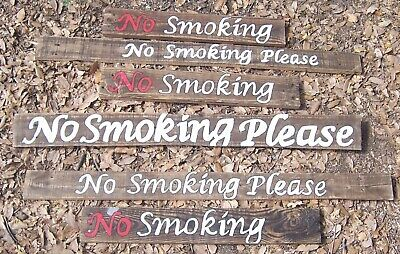 """Collection of Hand Painted Wood """"No Smoking"""" Signs Restaurant Wedding Patio"""