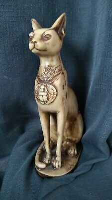 "PHARAONIC Ancient Egyptian Cat statue Handcarved Stone 8"" tall Ivory/brown"